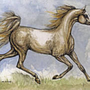 The Arabian Mare Running Art Print