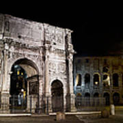 The Arch Of Constantine And The Colosseum At Night Art Print