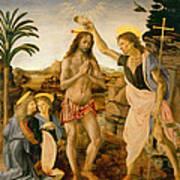 The Baptism Of Christ By John The Baptist Art Print by Leonardo da Vinci