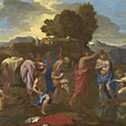 The Baptism Of Christ Art Print by Nicolas Poussin