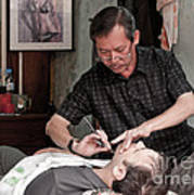 The Barber Shaves Another Customer 02 Art Print