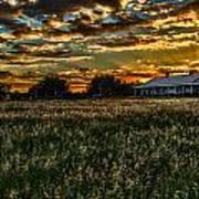 The Barn At Sunset Art Print