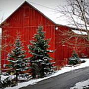The Barn In Wintertime Art Print
