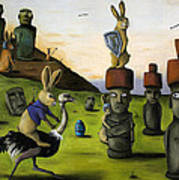 The Battle Over Easter Island Art Print