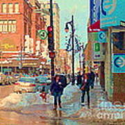 The Bay Department Store Downtown Montreal University And St Catherine Winter City Scene C Spandau  Art Print