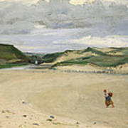 The Beach At Ambleteuse, 1869 Oil On Canvas Art Print