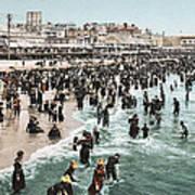 The Beach At Atlantic City 1902 Art Print