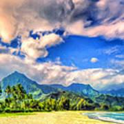 The Beach At Hanalei Bay Kauai Art Print