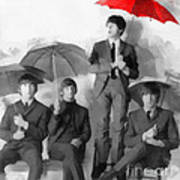 The Beatles - Paul's Red Umbrella Art Print