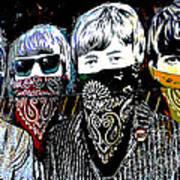 The Beatles wearing face masks Art Print