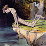 The Beautiful Narcissus Art Print by Honore Daumier