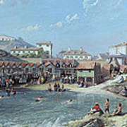 The Beginning Of Sea Swimming In The Old Port Of Biarritz  Art Print