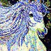 The Blue And White Pony Art Print