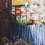 The Blue Paling - Backyard Of The Arthouse Buetzow Art Print