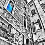 The Blue Window In Venice - Italy Art Print