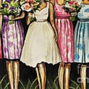 The Bride And Her Bridesmaids Art Print