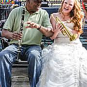 The Bride Plays The Trumpet- Destination Wedding New Orleans Art Print