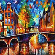 The Bridges Of Amsterdam - Palette Knife Oil Painting On Canvas By Leonid Afremov Art Print