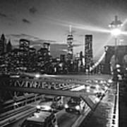 The Brooklyn Bridge In Black And White Art Print