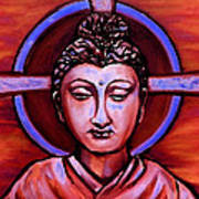 The Buddha In Red And Gold Art Print