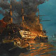 The Burning Of A Turkish Frigate Art Print