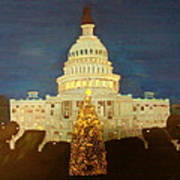 The Capitol At Christmas Art Print