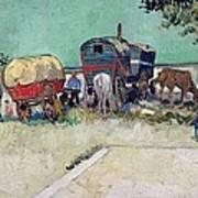The Caravans   Gypsy Encampment Near Arles Art Print by Vincent Van Gogh