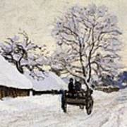 The Carriage- The Road To Honfleur Under Snow Art Print