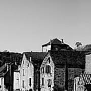 The Castle Above The Village Panorama In Black Nd White Art Print