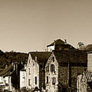 The Castle Above The Village Panorama In Sepia Art Print