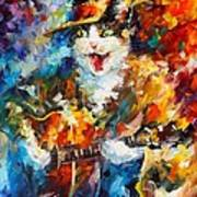 The Cat And The Guitar Art Print