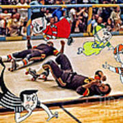 The Chipmunks Skating Roller Derby Art Print