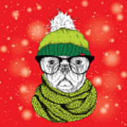 The Christmas Poster With The Image Dog Art Print