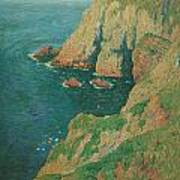The Cliffs Of Stang Ile De Croix Print by Henry Moret