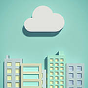 The Cloud Network And Office Buildings Art Print