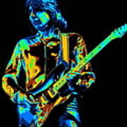 The Colorful Sound Of Mick Playing Guitar Art Print