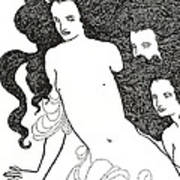 The Comedy Of The Rhinegold Art Print by Aubrey Beardsley