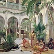 The Court Of The Harem Art Print by Albert Girard