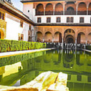 The Court Of The Myrtles And Comares Tower In Alhambra Art Print