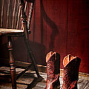 The Cowgirl Boots And The Old Chair Art Print