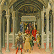 The Crippled And Sick Cured At The Tomb Of Saint Nicholas Art Print by Gentile da Fabriano