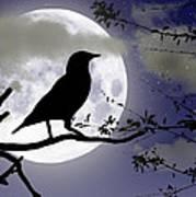 The Crow And Moon Art Print