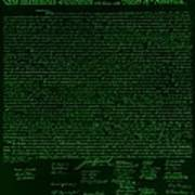 The Declaration Of Independence In Negative Green Art Print by Rob Hans