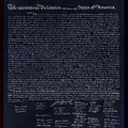 The Declaration Of Independence In Negative Red White And Blue Art Print
