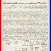 The Declaration Of Independence In Red White And Blue Art Print by Rob Hans