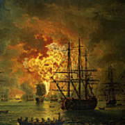The Destruction Of The Turkish Fleet At The Bay Of Chesma Art Print by Jacob Philippe Hackert