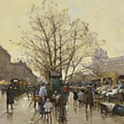 The Docks Of Paris Les Quais A Paris Print by Eugene Galien-Laloue