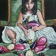 The Eggplant Princess Art Print by Shelley Laffal