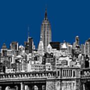 The Empire State Building Pantone Blue Art Print by John Farnan