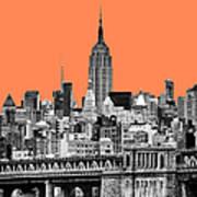 The Empire State Building Pantone Nectarine Art Print